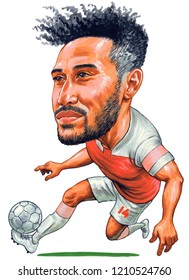 Pierre-Emerick Aubameyang is a Gabonese professional footballer who plays as a striker for Premier League club Arsenal. Illustration,Caricature,Design,October,2018