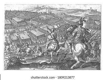 Pietro Strozzi's departure during the battle of Marciano, Pietro Strozzi's French army blows the retreat. In the background the city of Marciano, vintage engraving.