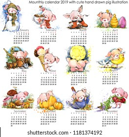 Pig calendar for 2019. Cute month calendar with watercolor funny piglet