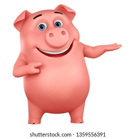 Pig cartoon character points to an empty hand on a white background. 3d rendering. Illustration for advertising.