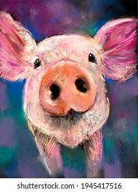 Pig pastel portrait. Modern art