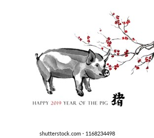 "Pig sumi-e greeting card oriental new year. A swine and a branch of cherry blossom, Eastern ink wash painting. With Chinese hieroglyph ""pig"" and text."