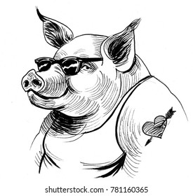 Pig in sun glasses with a heart tattoo on it shoulder