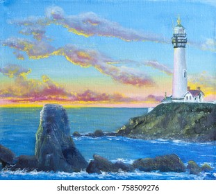 Pigeon Point Lighthouse during sunset, oil painting on the canvas