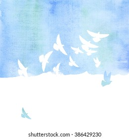 pigeon in the sky watercolor hand drawn illustration. aquarelle image of sky with birds for background, poster, print, wallpaper