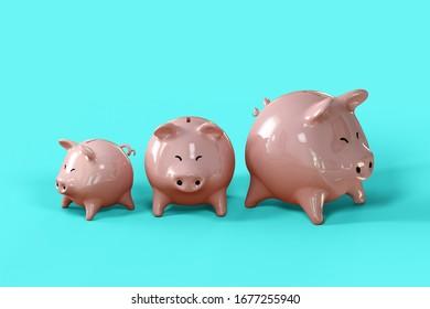 Piggy bank 3d illustration on blue background