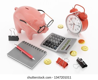 Piggy Bank Accounting. 3D rendering graphics on the subject of 'Financial Accountancy'.