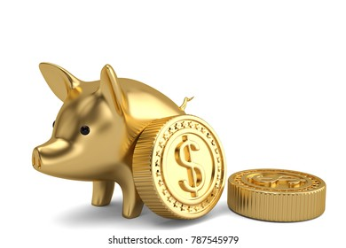 Piggy bank and big gold coins on white background 3D illustration.