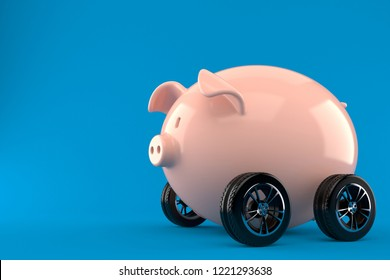 Piggy bank with car tires isolated on blue background. 3d illustration
