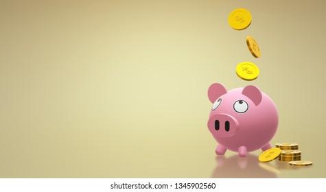 Piggy bank coin 3d rendering for money content.