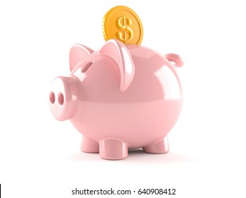 Piggy bank with coin isolated on white background. 3d illustration