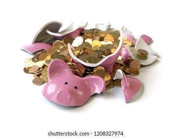 piggy bank with coins broken,3d rendering,conceptual image.