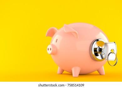 Piggy bank with door keys isolated on orange background. 3d illustration