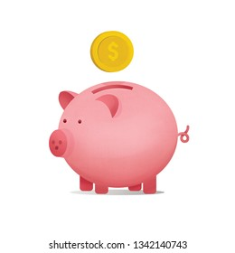 piggy bank with falling coins illustration isolated on white background.