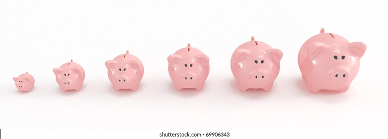 Piggy bank family going from the smallest to the biggest