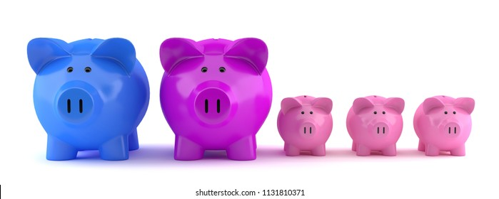 Piggy bank family with mom and dad (3d rendering)