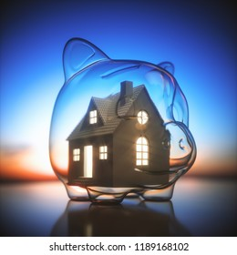 Piggy bank of glass, with a miniature house lit inside. Concept of saving money for the purchase of a new house. 3D illustration.