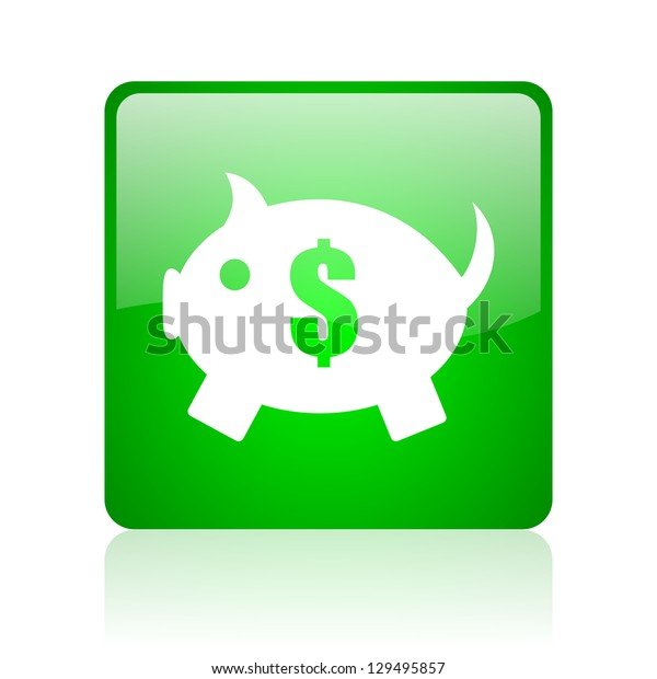 piggy bank green square web icon on white background