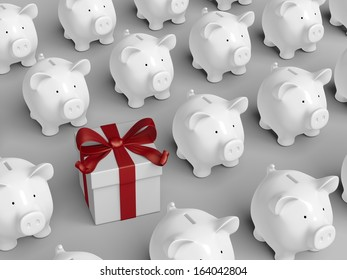 Piggy bank - grid with gift box
