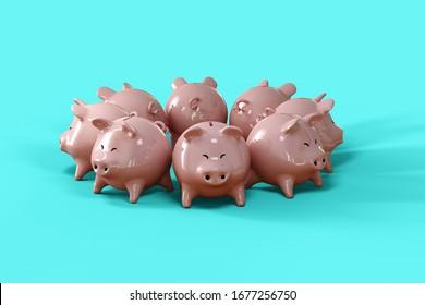 Piggy bank group 3d illustration on blue background