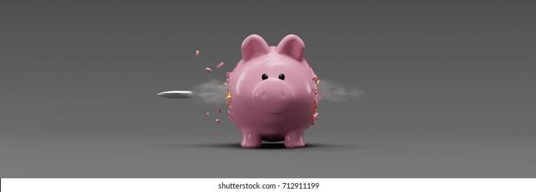 Piggy bank hit by a bullet as financial concept 3d rendering