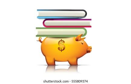 Piggy bank holding books, 3D render illustration