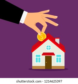 Piggy bank house concept. House bank savings, hand puts coin into home moneybox illustration