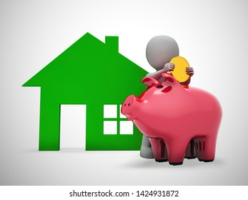 Piggy bank house shows saving money for property and mortgage deposit. Homeownership of real estate - 3d illustration