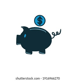 Piggy bank icon illustration business