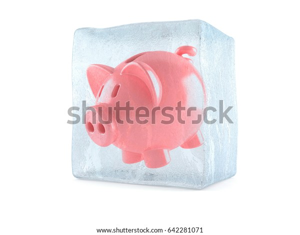 Piggy bank inside ice cube isolated on white background. 3d illustration