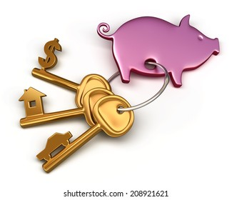 Piggy bank - keychain and different keys. Key to the house, car and money. Conceptual finance illustration