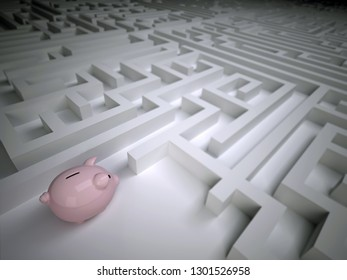 Piggy bank in the labyrinth maze, 3d illustration