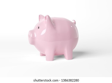 Piggy bank mockup isolated on white background 3D rendering