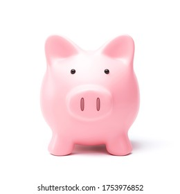 Piggy bank or money box isolated on white background with savings money concept. Pink money box and savings idea. 3D rendering.
