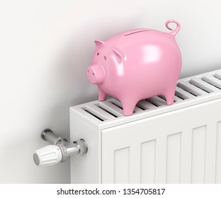 Piggy bank on central heating radiator. Concept image for saving money on heating. 3D illustration