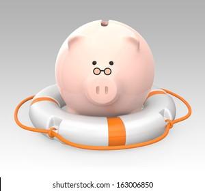 Piggy bank on a lifebuoy. Money security concept