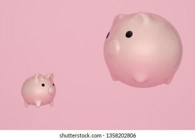 Piggy bank on pink background. 3D illustration.