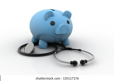 Piggy bank and stethoscope isolated on white