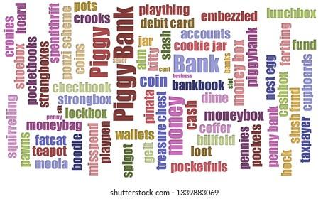 Piggy Bank Tag Cloud Randomised Isolated