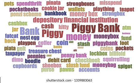 Piggy Bank Word Cloud Aligned Isolated On White