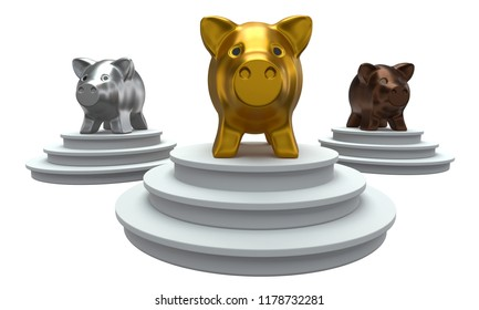 Piggy banks standing on the podium isolated on white background. 3D render