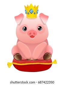 Piggy Illustration, Pig in the Golden Crown Illustration