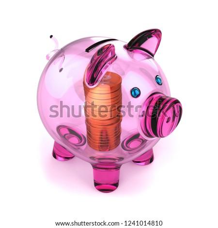 0f7e6e20e Piggybank purple translucent made of glass and golden coins inside. Piggy  bank pension