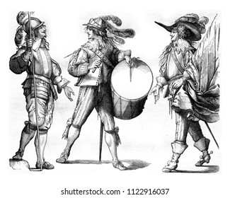 Piker, Drum and Flag Bearer of french Guards in 1635, vintage engraved illustration. Magasin Pittoresque 1858.