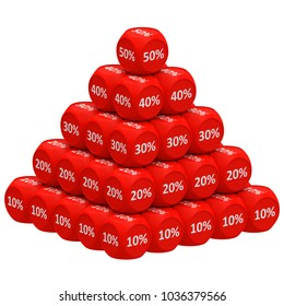 Pile of 3d discount cubes raging from 10 to 50 forming pyramid. Sale promotional concept 3D render