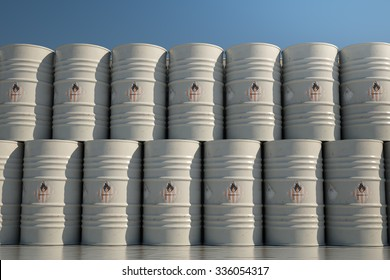 Pile Of Barrels With Flammable Waste During Sunny Day