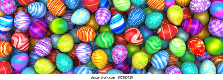 Pile of birght and colorful Easter Eggs - 3d render