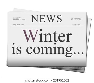 pile of blank newspapers with winter is coming words isolated on white background