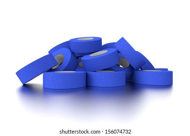 Pile of Blue Tape Against a White Background with Reflections