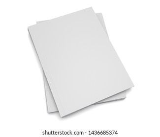 Pile Of Books Or Magazines. Blank White Catalogs Isolated On Light Background. 3D render